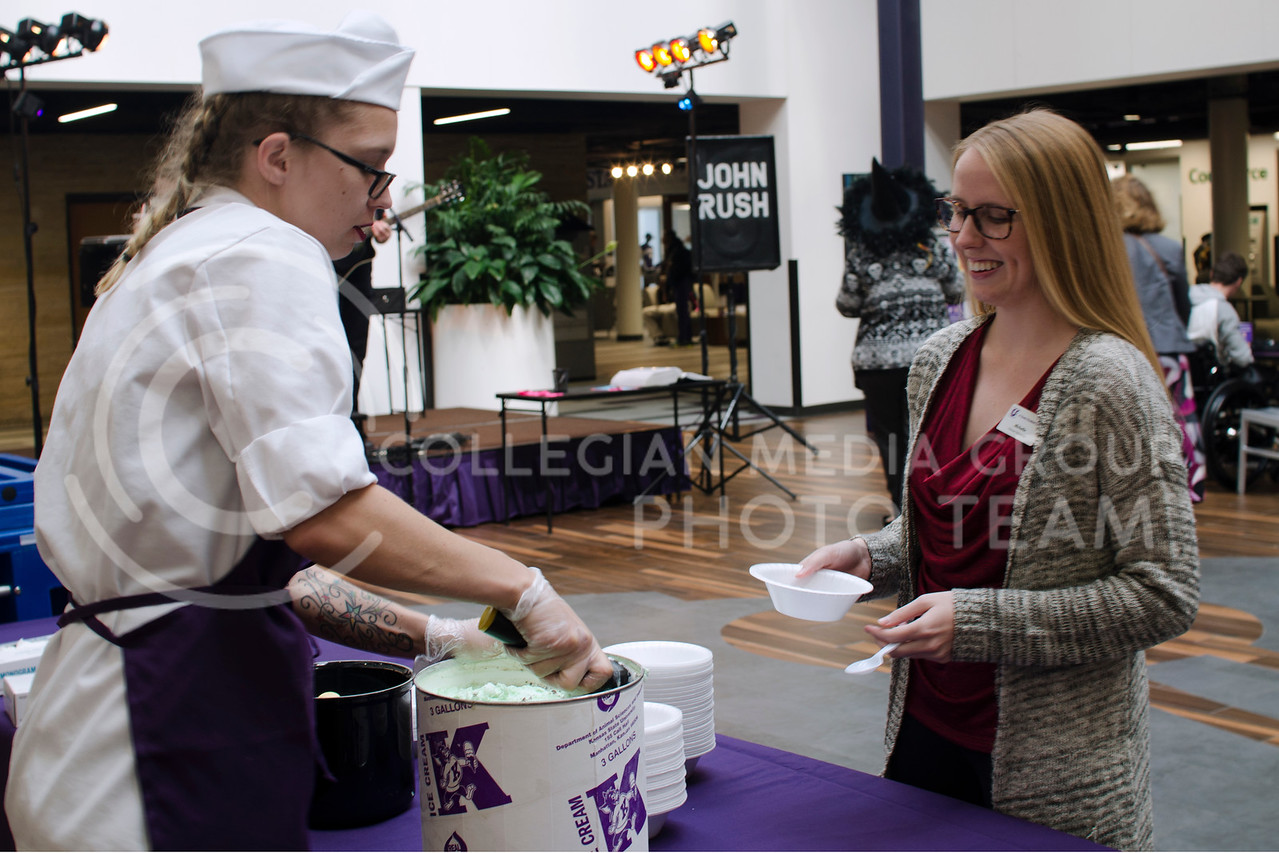 Michielle Harper gets free Call Hall ice cream during John Rush the Human iPod event over the lunch hour at the K-State Student Union on Oct. 11, 2017 (Saya Kakim | Collegian Media Group) (Saya Kakim | Collegian Media Group)