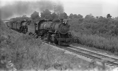 2021.003.BO.4503--john s ingles PC neg--B&O--steam locomotive 2-8-2 4503 doublehead on freight train action--between East St Louis and Shattuc IL--c1941 0000