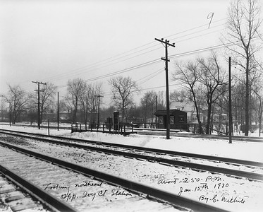 2021.003.PCNW-28--john s ingles 8x10 print [Stanton Wilhite]--C&NW--view of CNS&M depot at Ivy Court looking northeast C&NW tracks in foreground--Kenilworth IL--1930 0115