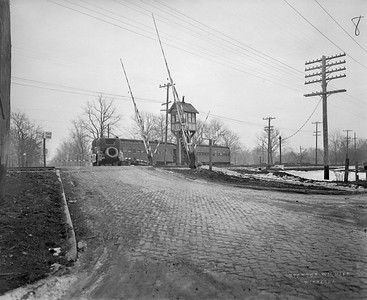 2021.003.PCNW-08--john s ingles 8x10 print [Stanton Wilhite]--C&NW--view of CNS&M interurban and crossing at South Ave looking east--Glencoe IL--1929 1231