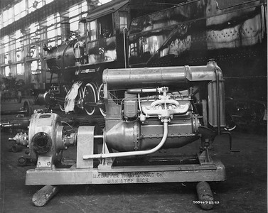 2021.003.PDTI.019--john s ingles 8x10 print--DT&I--company photo of diesel engine and pump--location unknown--1923 0922