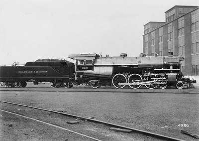 2021.003.PDTI.006--john s ingles 8x10 print--DT&I--company builders photo of D&H 4-6-2 steam locomotive 606--location unknown--no date