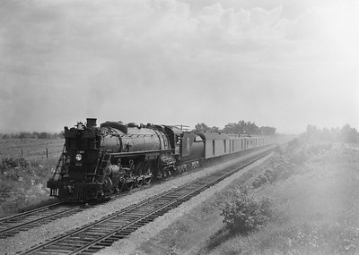 2021.003.GN.2578--john s ingles 6x9 neg--GN--steam locomotive 4-8-4 2578 on 9-car passenger train action--location unknown--no date