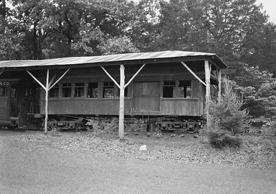2021.003.MCRR.0002--john s ingles PC neg--MCRR--Mammoth Cave Railroad wooden coach display--Mammoth Cave KY--no date