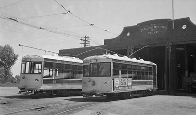 2021.003.FCMR.0021--john s ingles 116 neg [Logue]--FCMR--Fort Collins Municpal Railway Birney streetcars at carbarn scene--Fort Collins CO--1951 0624
