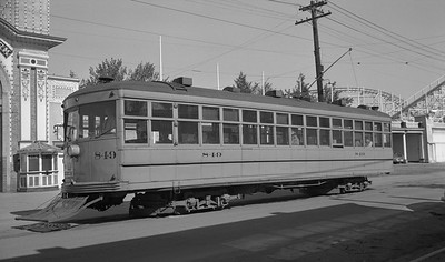 2021 003 DTC 0849--john s ingles 116 neg [JO Riley]--DT--Denver Tramway electric streetcar 849 on route 5 on Lakeside between 45th and 46th Street--Denver CO--1950 0529