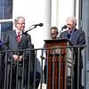 Joe Riley's decades-long mayoral career came to a close today when Mayor John Tecklenburg (left) was sworn in. (Photo/Liz Segrist)