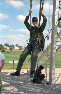 Practicing jumping out of a plane