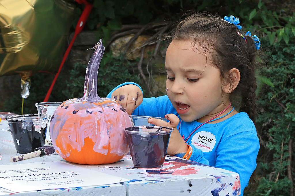 . The 25th anniversary of the Johnny Appleseed Festival was held on Saturday in downtown Leominster, September 22, 2018. Olivia Sokolowski, 5, paints a pumpkin at the festival. SENTINEL & ENTERPRISE/JOHN LOVE