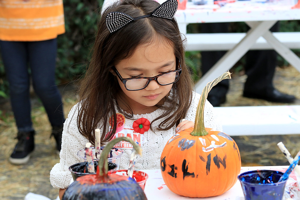 . The 25th anniversary of the Johnny Appleseed Festival was held on Saturday in downtown Leominster, September 22, 2018. Madilyn Tran paints a pumpkin at the festival. SENTINEL & ENTERPRISE/JOHN LOVE