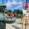 It was Johnny Appleseed's birthday today Thursday, September 26, 2019. He is 245 years old today. The Johnny Appleseed Visitor Center on Route 2 in Lancaster held a birthday party for him. Johnny himself showed up to the party. Here he waves to visitors to the center as he stands next to a statue of himself. SENTINEL & ENTERPRISE/JOHN LOVE