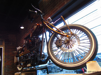 Jim Holsein likes to take random yet interesting objects, clean them up and make them part of his bikes, like the old microphone in the center of the handle bars like a headlight. Holsein tries to create at least one bike a year for the Columbus Easy Riders show.