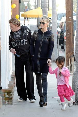 Johnny Hallyday,Laeticia and Joy Make Some Shopping