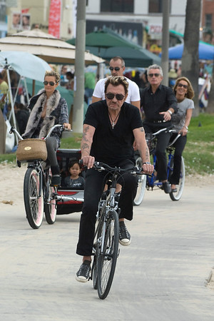 Johnny Hallyday and David Couillet in Los Angeles.