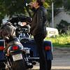 Johnny rides his Harley Davidson.