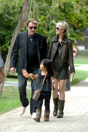 Johnny,Laeticia et Jade.