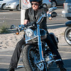 Johnny Hallyday looks happy on his bike
