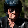 Johnny Hallyday rides his Harley Davidson