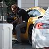 Johnny Hallyday Rock in his Yellow Car