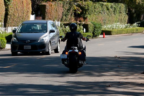 Johnny Hallyday rides his Harley Davidson