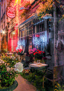 The Paris Café was awarded Best of Show in the 2013 Richardson Photography Competition. It may be one the oldest restaurant buildings  in Paris. The building is representative of the many buildings and streets that surrounded Notre Dame in the late 1400s and 1500s.