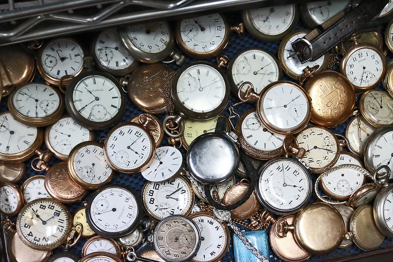 John Lynch shows off a drawer full of pocket watches in his shop at John's Watch and Jewelry in Lunenburg. SENTINEL & ENTERPRISE/JOHN LOVE