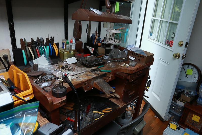 An old work desk at John's Watch and Jewelry in Lunenburg. SENTINEL & ENTERPRISE/JOHN LOVE