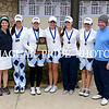 The Johnson Varsity Girls golf team, (l to r) assistant coach Julia Mathes, Taylor Coleman, Nikki Long, Loryn Munoz, Olivia Hull, Caileigh Reed and head coach Mike Martin, won the district 26-5A tournament last week.  Johnson and Reagan varsity teams advanced to the Regional Tournament that ends today (Thursday) at Brackenridge Golf Course.