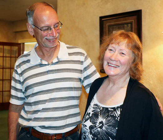 SHERRY VAN ARSDALL | THE GOSHEN NEWS<br /> At right, Janet Dabney, of Goshen, and Mike Pierce, of Goshen, attended the final reunion of the Johnson Controls Retiree Club at Maplecrest Country Club in Goshen Saturday. Dabney worked for 41 years and Pierce worked for 33 years at the factory.