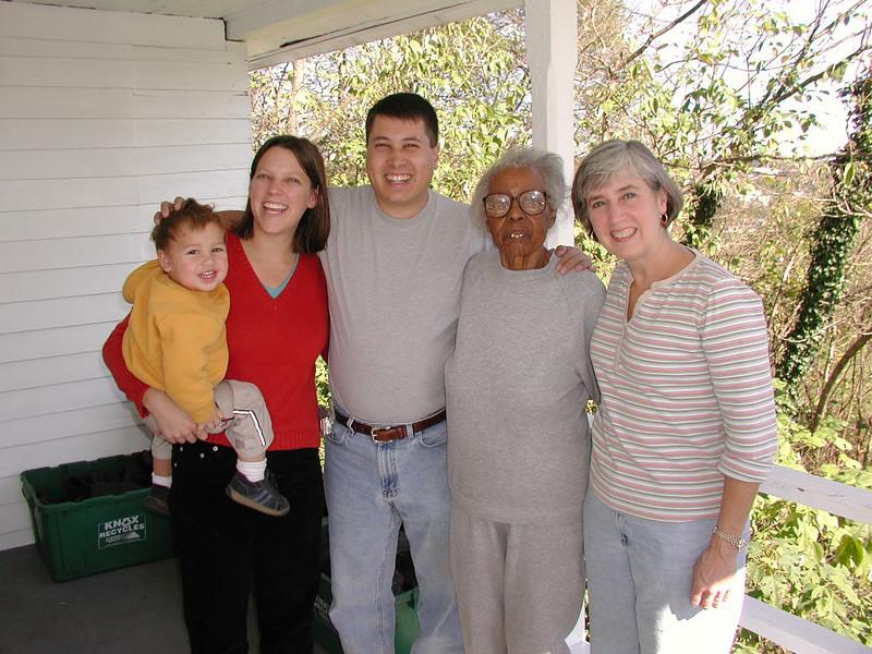 Henry, Emily, Michael, Jenny, and Aunt Clara.
