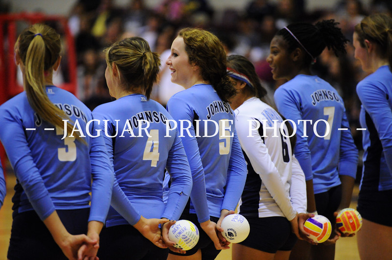 during a bi-district Volleyball playoff match between the Seguin Matadors and the Johnson Jaguars at Littleton Gym in San Antonio, Texas on November 2, 2010 <br /> John Albright / Special to the Express-News.
