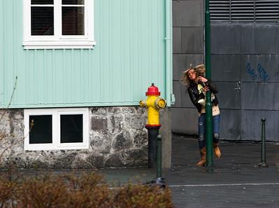 Ungfrú Ísland að labba á staur.