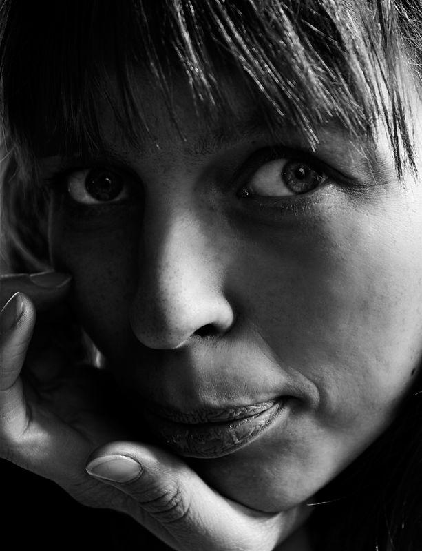 Portrait of Sonja at a restaurant in Reykjavik.