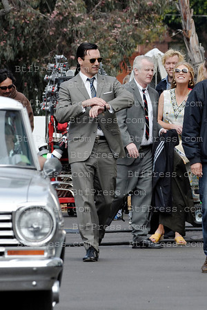Jon Hamm and cast during the set of Mad Men in Santa Monica, California.