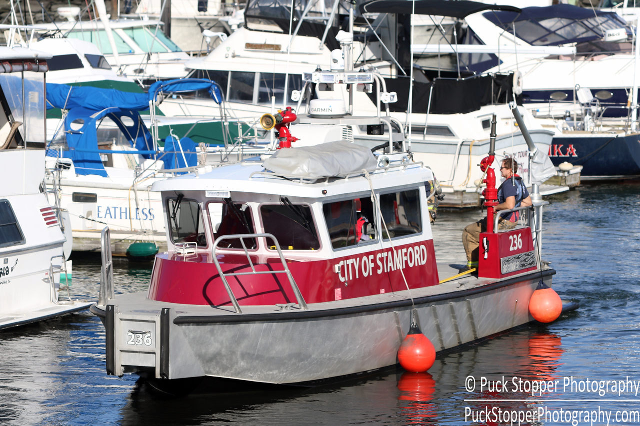 SFD working a small boat fire 98 Southfield Ave. Oct 12, 2016