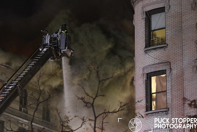 FDNY 5th Alarm building fire at 565 West 144th Street. Nov 17, 2017.  Photos by Jon Tenca, see more at http://www.puckstopperphotography.com/p624477991