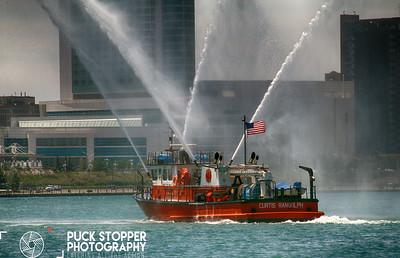 Fire Boat Drill - Detroit River, Detroit, MI - 7/4/17