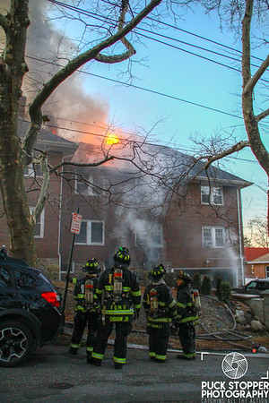 Mount Vernon FD working a second alarm fire at 137 Vernon Ave. Jan 14, 2018.  Photos by Jon Tenca, see more at http://www.puckstopperphotography.com/p353717426