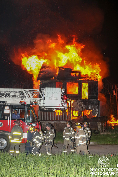 Detroit FD working a dwelling going throughout on Thompson. 5/11/19