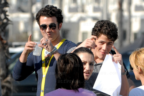 Jonas brother on the set of Camp Rock: The Final Jam in Santa Monica,California
