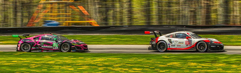2019 Acura Sports Car Challenge at Mid-Ohio - Nick Tandy and Patrick Pilet in the #911 Porsche 911 RSR - Porsche GT Team AND Trent Hindman and Mario Farnbacher in the #86 Acura NSX GT3 - Meyer Shank Racing w/ Curb-Agajanian