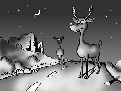 Demon Highway Deer at Night