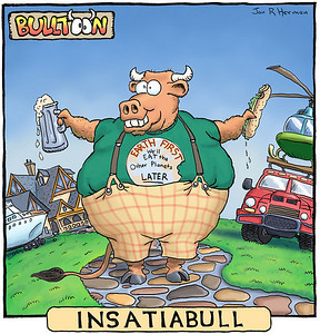 A rogue Bulltoon! It should be in the Bulltoons gallery, but I'm going to leave this one here. Check out the Bulltoons gallery for more of these.