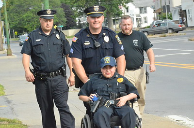 John Brewer - Oneida Daily Dispatch Make-A-Wish recipient Jordan Barahmeh attends his first day on the job as an honorary Oneida City Police officer on Tuesday, Aug. 29, 2017.