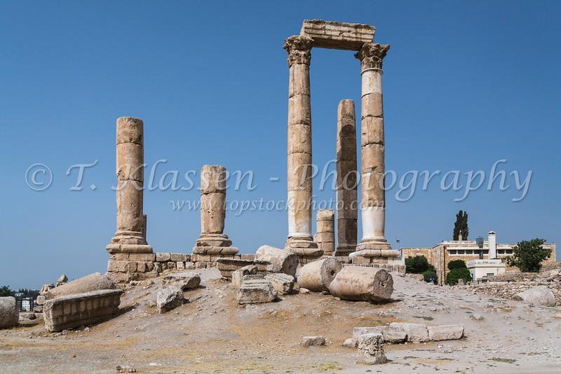 the Temple of Hercules ruins at the Citadel, Amman, Hashemite Kingdom of Jordan, Middle East.