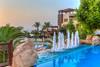 The Marriott Hotel resort at sunset on the Dead Sea, Hashemite Kingdom of Jordan, Middle East.