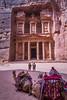 The Treasury building with camels, Al Khazneh in Petra, Hashemite Kingdom of Jordan.