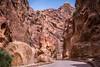 The narrow siq passage entrance to Petra, Hashemite Kingdom of Jordan.