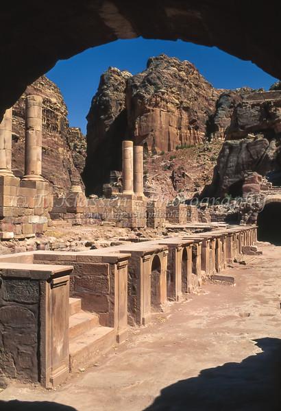 Building ruins in the former Nabatean city of Petra, Hashemite Kingdom of Jordan.