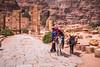 Donkey transportation at the Hadrian Gate in Petra, Hashemite Kingdom of Jordan.